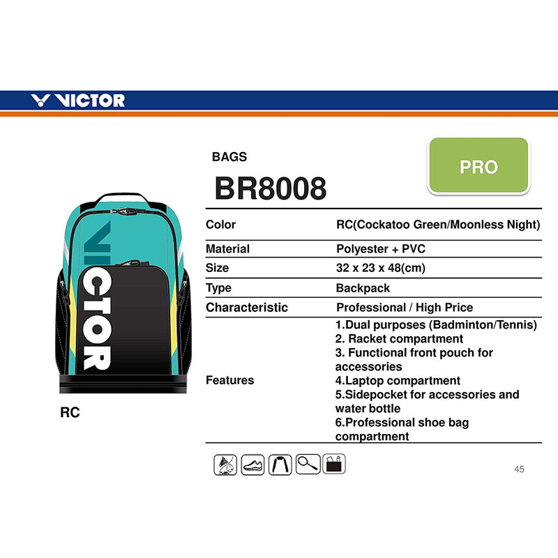Victor Professional Badminton Backpack BR-8008 (2Pcs Racket Storage Space)
