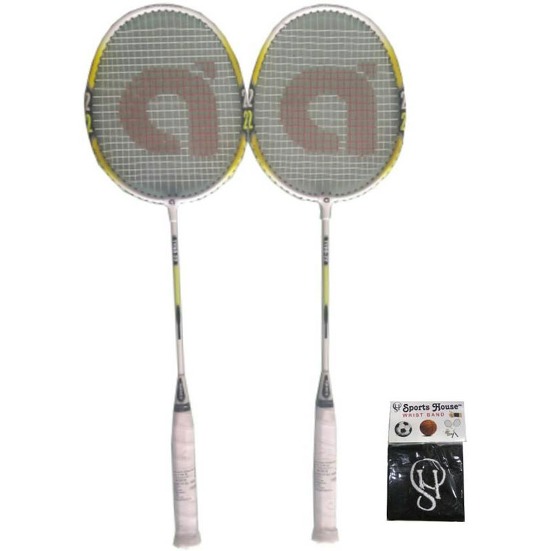 APACS Tyro 22 Badminton Racquet Strung (Pack of 2) (WITH SPORTS HOUSE COTTON WRIST BAND)  (Multicolor, Weight - 90 g)