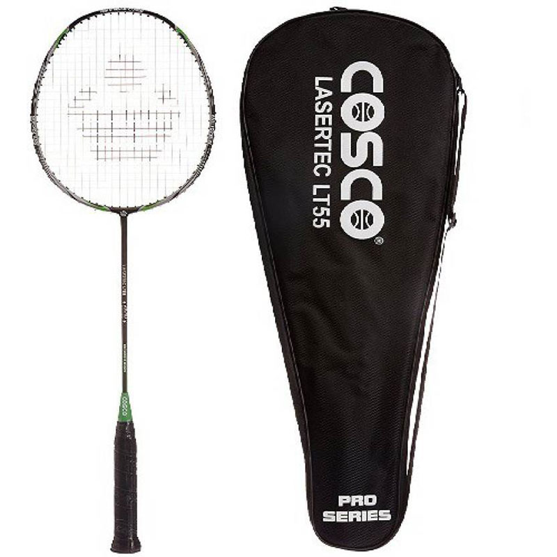 Cosco LT55 Lasertec Badminton Racquet G4 Strung  (Black, Green, Weight - 83)