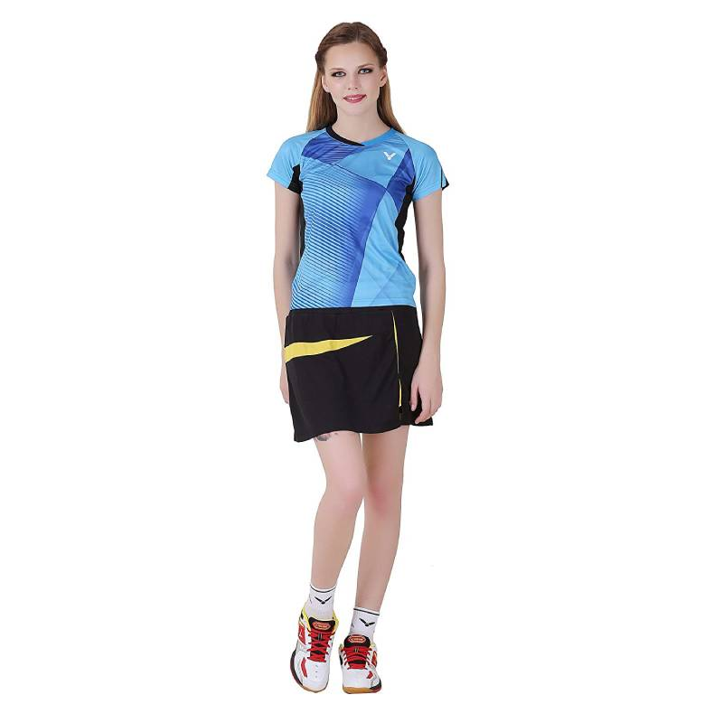 Game Series Blue Black Round Neck Half Sleeve Women T-Shirt