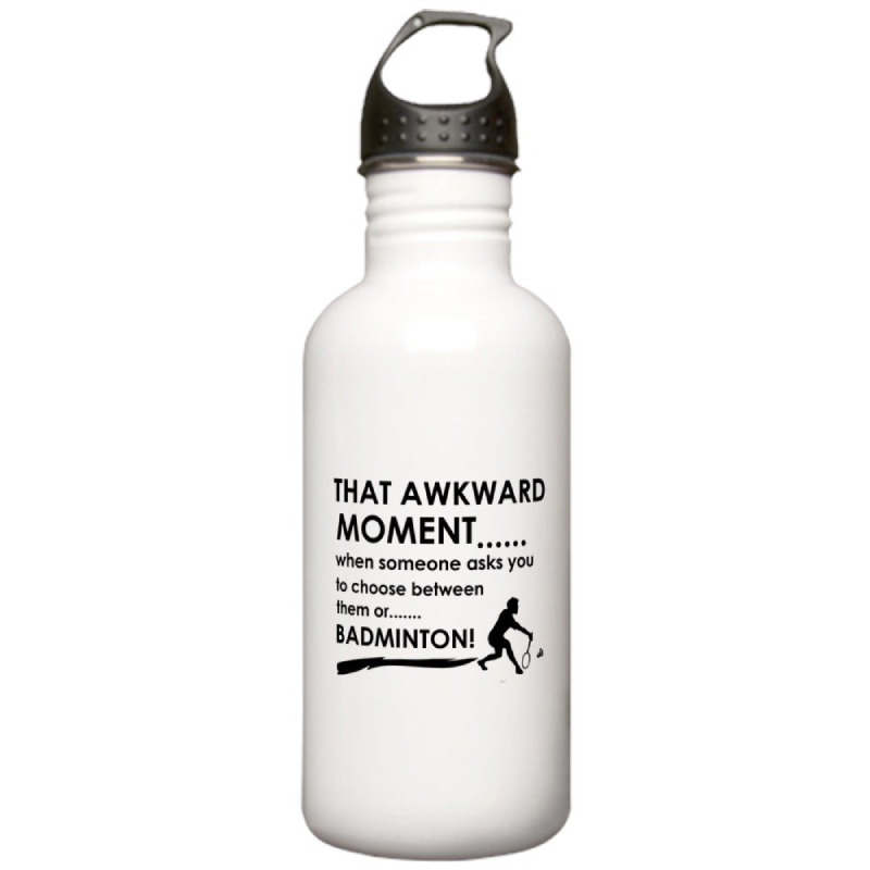 CafePress - Badminton sports designs Stainless Water Bottle