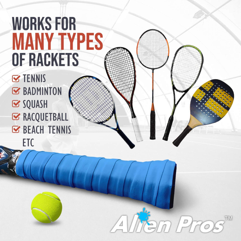 Alien Pros Tennis Racket Grip Tape (12 Grips) – Precut and Dry Feel Tennis Grip – Tennis Overgrip Grip Tape Tennis Racket – Wrap Your Racquet for High Performance