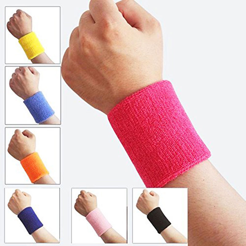 Wine Red : 2pcs Towel Wrist Protection Wrist Sweat Wipe Terry Cloth Cotton Bracelet Basketball Badminton Wristband Support Pocket Towel L4