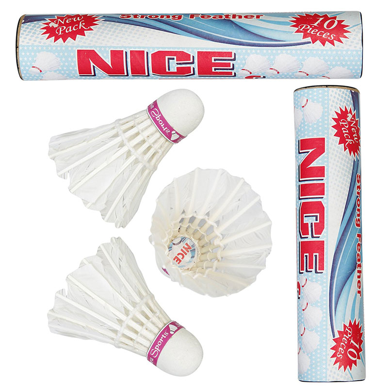 NC-10 Nice Strong Feather Badminton Shuttlecocks Pack of Two Boxes ( 10 Shuttlecocks in Every Box).