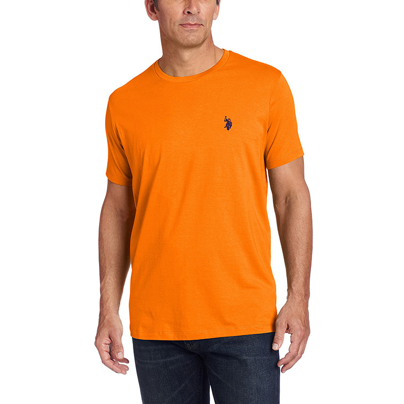 U.S. Polo Assn. Men's Crew Neck Small Pony T-Shirt, Orange Sunset