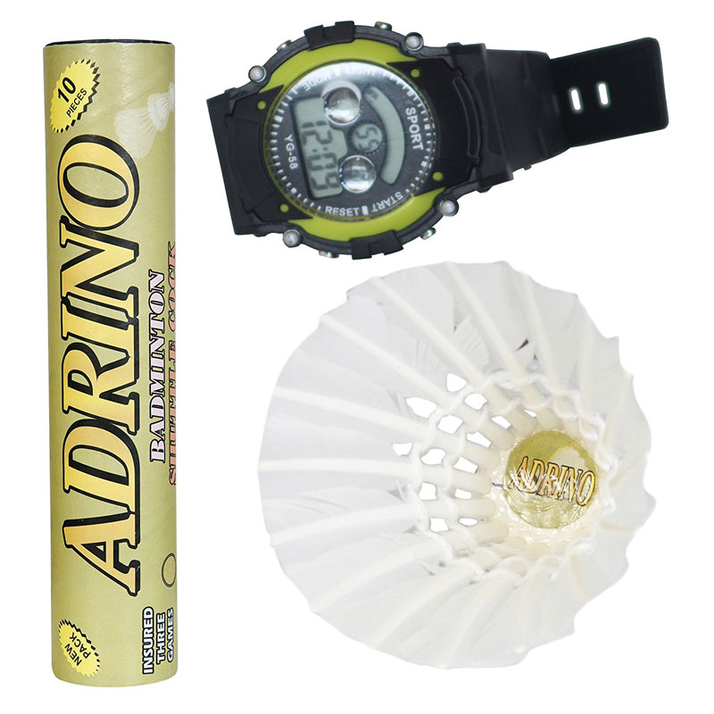 AD-10 Adrino Strong Feather Badminton Shuttle cocks (Pack of Ten) with a free Digital Watch.