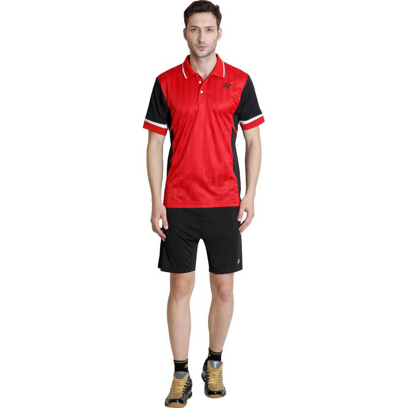 Yonex Solid Men's Polo Neck Red T-Shirt