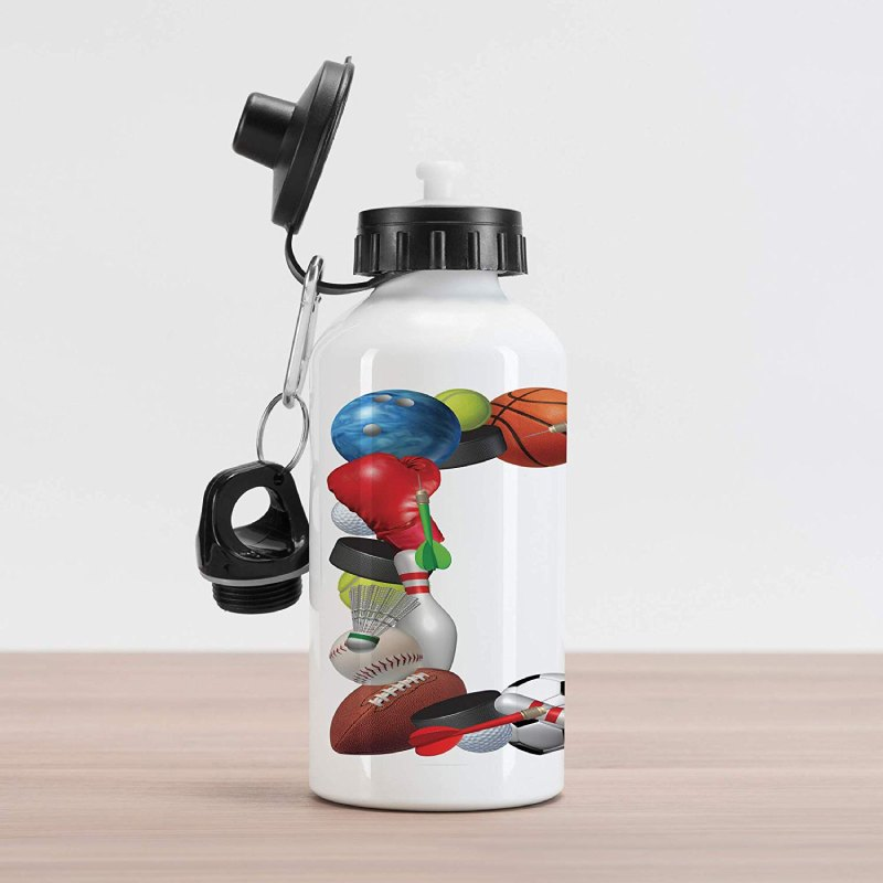 Lunarable Sports Aluminum Water Bottle, Frame with Sport Equipment from Baketball Boxing Golf Bowling Badminton Activity