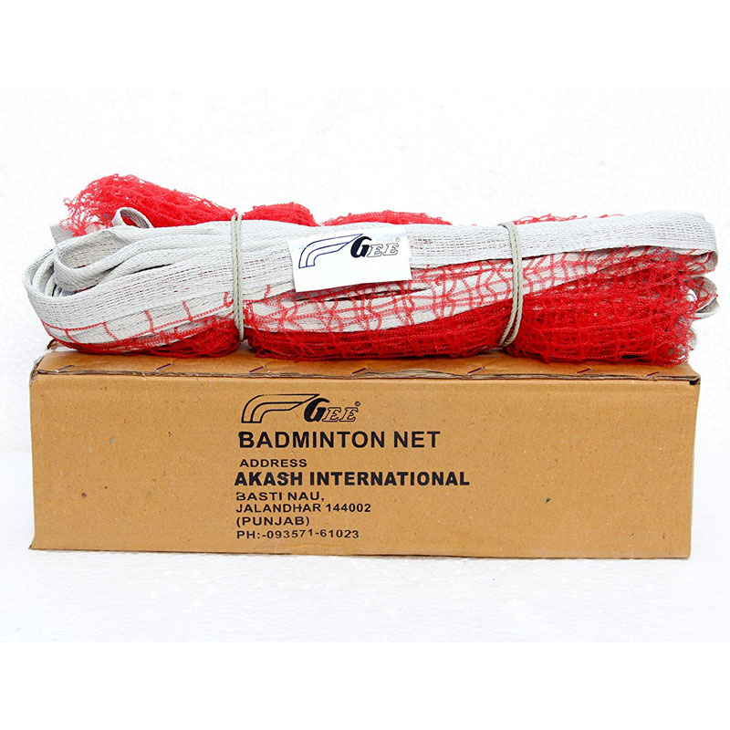 Gee Unisex Nylon Badminton Net Standard Red In Box Packing