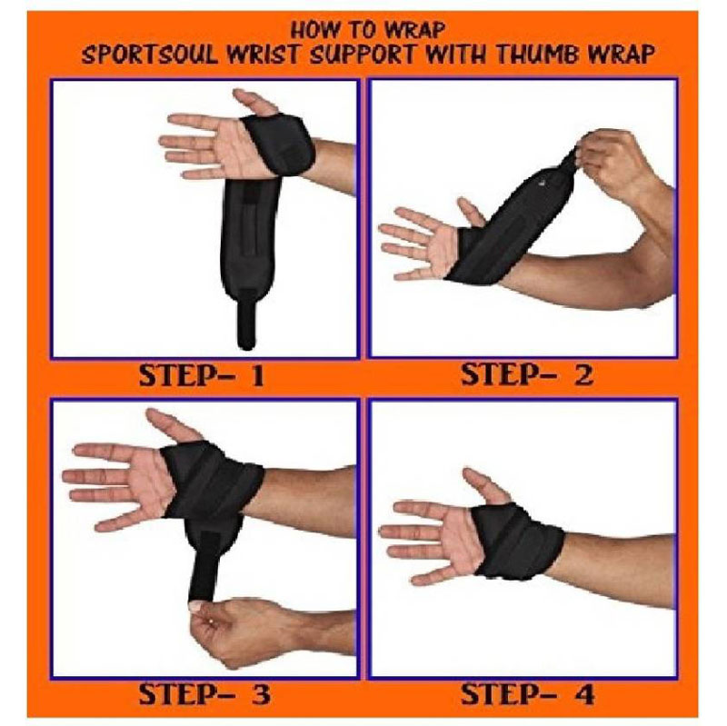 meditive Wrist Support with Thumb loop Wrist Support (Free Size, Black)