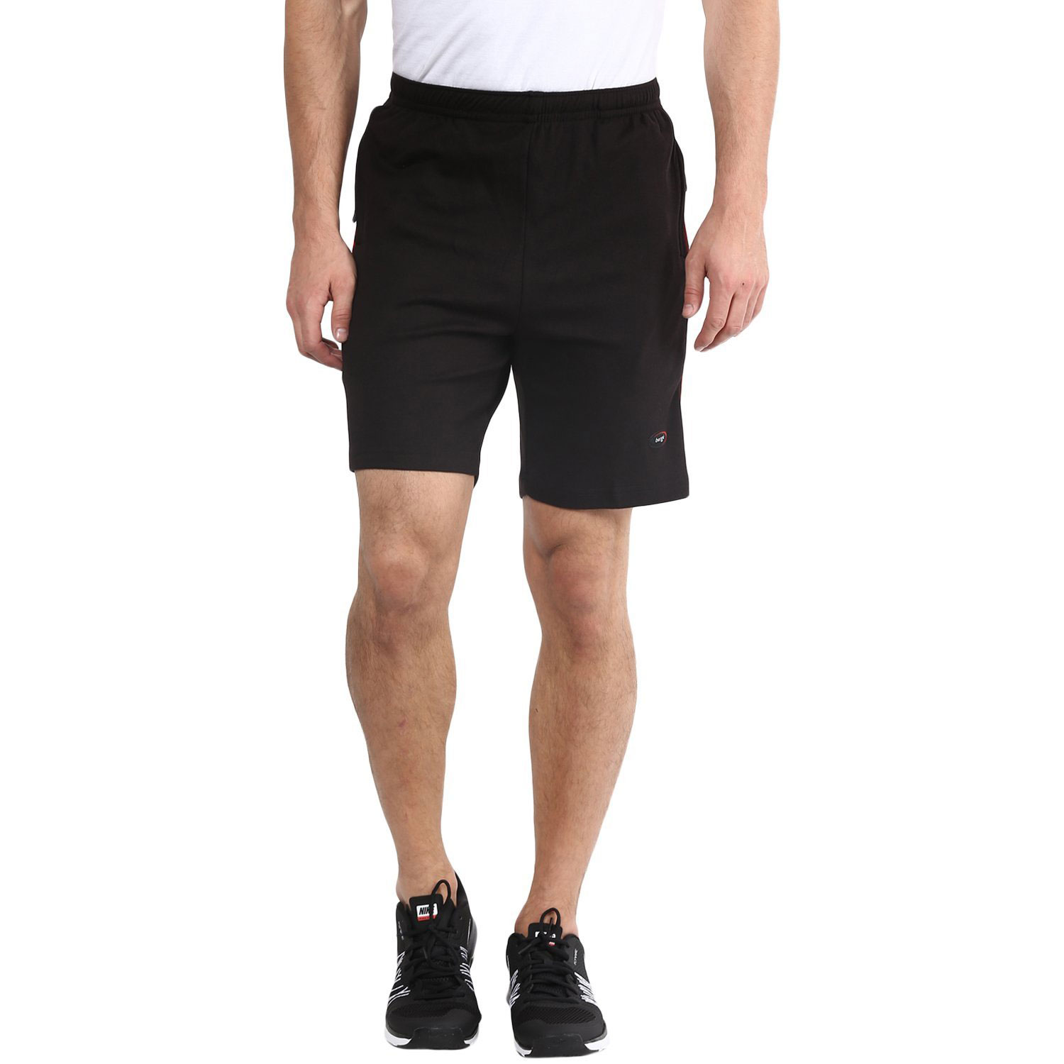 Berge Men's Black Knits Long Shorts With Secure Zipper Pockets